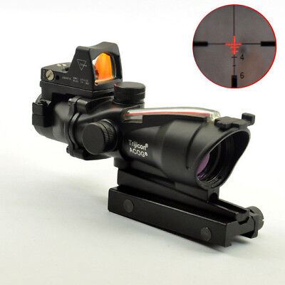 ACOG Style 4X32 Real Fiber Source Red Illuminated Scope w/ RMR Micro Red Dot