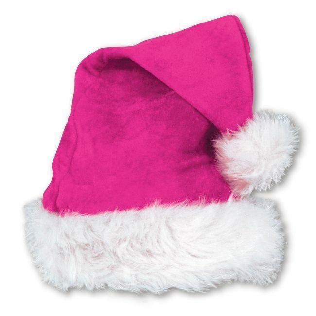 Pink Velvet Santa Hat w/Plush Trim