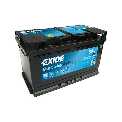 1x Exide Stop Start 80Ah 800CCA 12v 115 AGM Car Battery 4 Year Warranty - EK800