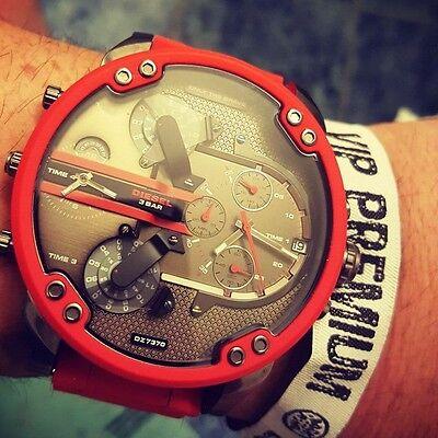 Diesel DZ7370 Mr Daddy 2.0 Gunmetal Dial Red Silicone Strap Men`s Watch