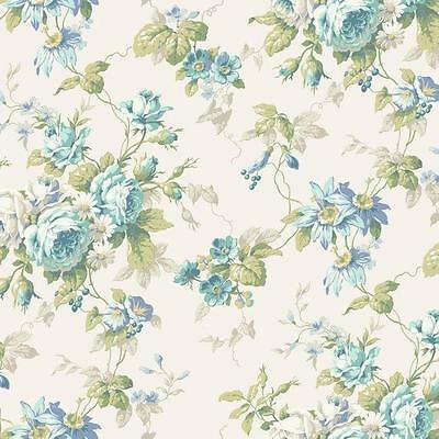 Wallpaper Cottage Rose Floral Trail, Blue Gray Green on Eggshell - Trail Wallpaper