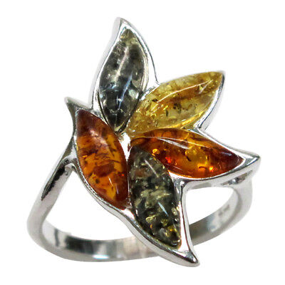GORGEOUS MULTI COLOR NATURAL BALTIC AMBER 925 STERLING SILVER RING SIZE 5-10 - Gorgeous Sterling Silver Natural