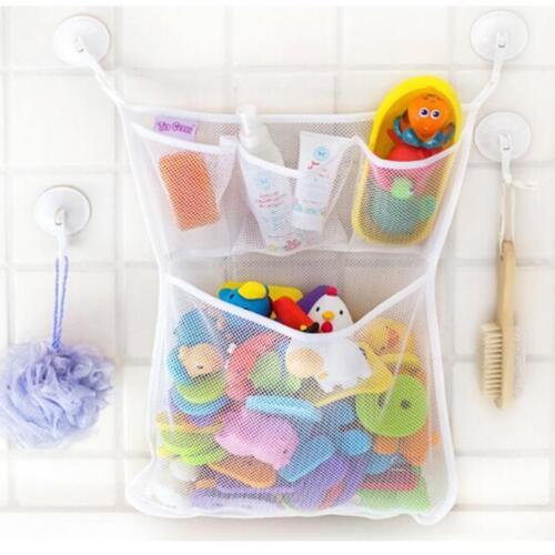 Tidy Storage Net Suction Cup Bag Mesh Shower Bathroom Organiser Bath Toys HD3