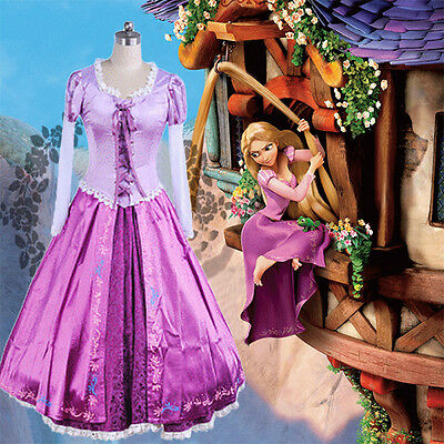 US! Adult Princess Rapunzel Dress Tangled Fairytale Halloween Cosplay Costume