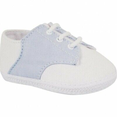 Boys Saddle Shoes (NWT Baby Deer White Blue Cotton Saddle Oxford Booties Crib Shoes Boys Newborn)