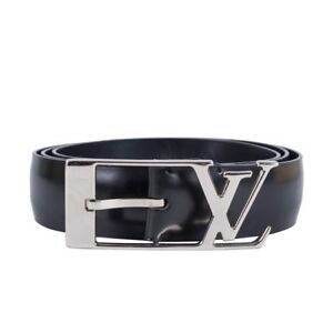 Louis Vuitton Patent Leather Belt - Black with Silver LV Buckle