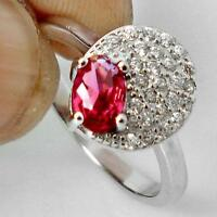 RED RUBY - WHITE TOPAZ ACCENTS - 925 Solid Silver Ring - Size 6