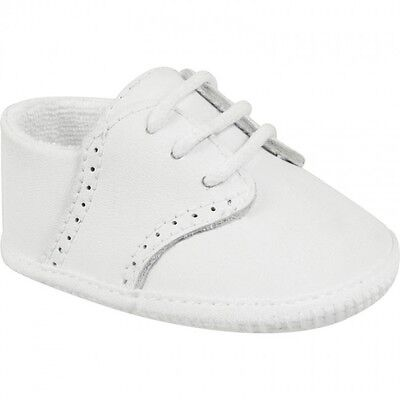 Boys Saddle Shoes (NWT Baby Deer White Leather Saddle Oxford Booties Crib Shoes Boys Preemie Sz)