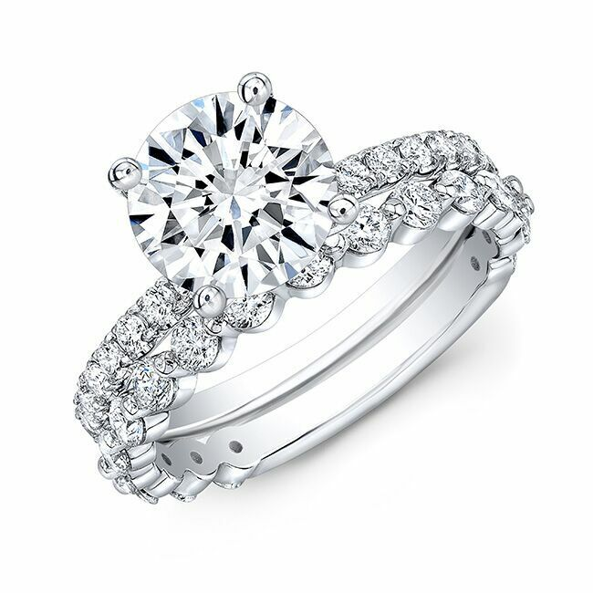 1.90tcw Natural Round Cut Pave Set with Mismatched Single Prong Band - GIA  1