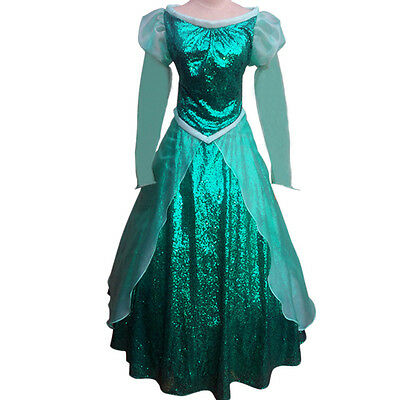 Little Princess Mermaid Ariel Dress Cosplay Costume Halloween  Dress For Adults