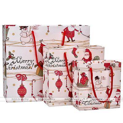 12pcs Small / Medium Christmas Xmas Printed Holiday Paper Gift Present Bag - Present Bag
