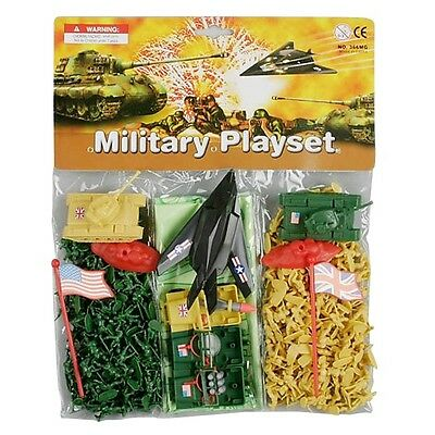 Micro Mini Military Playset plastic army men and tanks, planes, toy yellow/green