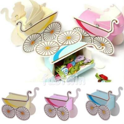10/25/50 Baby Shower Carriage Stroller Paper Candy Gift Box Party Celebration FW
