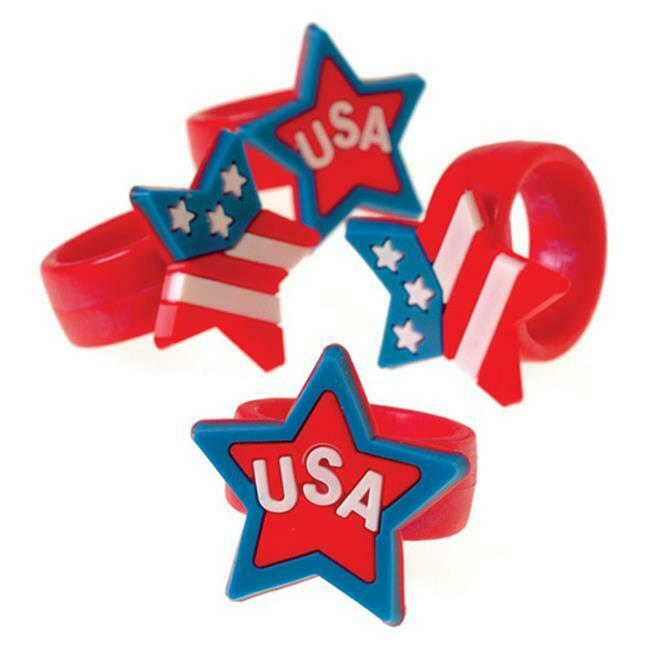 US Toy Company 2290 Patriotic Rubber Rings - Pack of 12