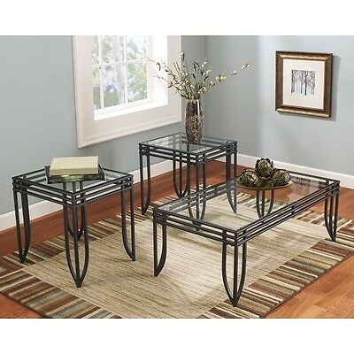 Coffee Table Set End Tables Glass Top Living Room Metal Modern Contemporary  ()