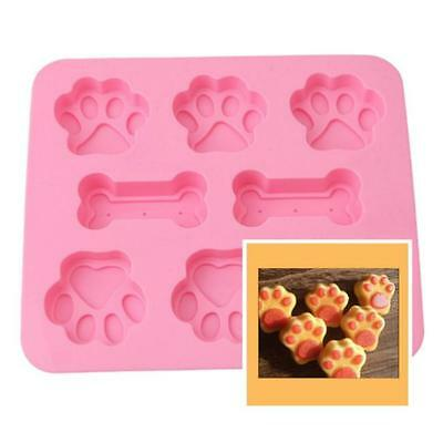 Silicone Pet Dog Bone Paw Soap Mold Candy Chocolate Fondant Tray Ice Mould FM