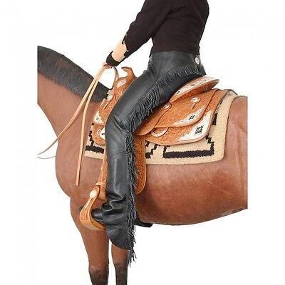 Tough-1 Smooth Leather Chap w/ Fringe - MEDIUM ADULT - BLACK - NWT