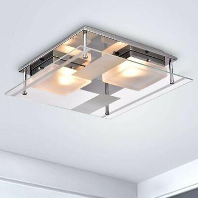 Modern Flush Mount Ceiling Light Fixture Low Profile Chandelier Glass Chrome -