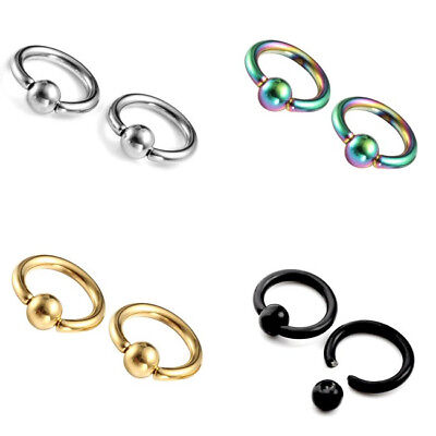 2x Hot Punk Cool Stainless Steel Ear Tragus Helix Hoop Ring Earring body - Tragus Earring Rings Body Jewelry