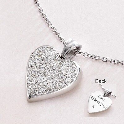 Engraved Heart Pendant  Necklace with Crystals on Chain with Engraving Jewellery