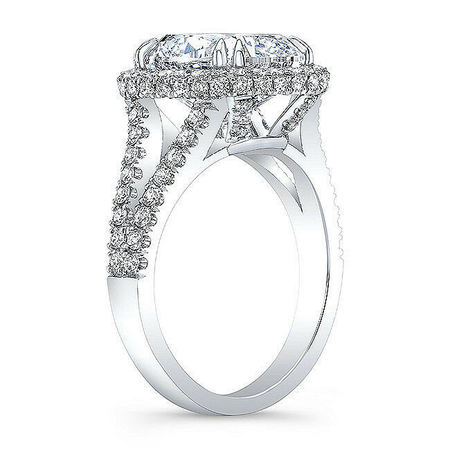NEW 4.05 Ct Cushion Cut Micro Pave Halo Round Diamond Engagement Ring F,VS2 GIA  3