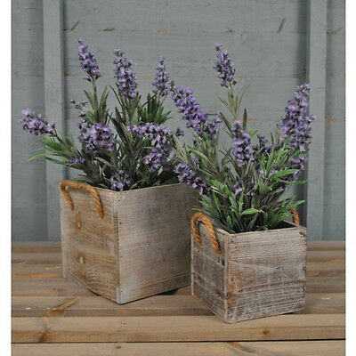 Wooden Square Garden Planters Grey Washed (Set of Two) by Rustic Garden