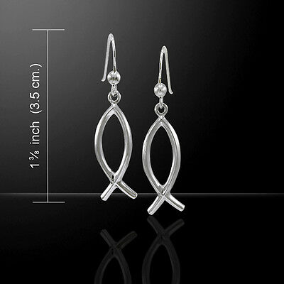 Christian Fish Ichthus Sterling Silver Earrings by Peter Stone Jewelry