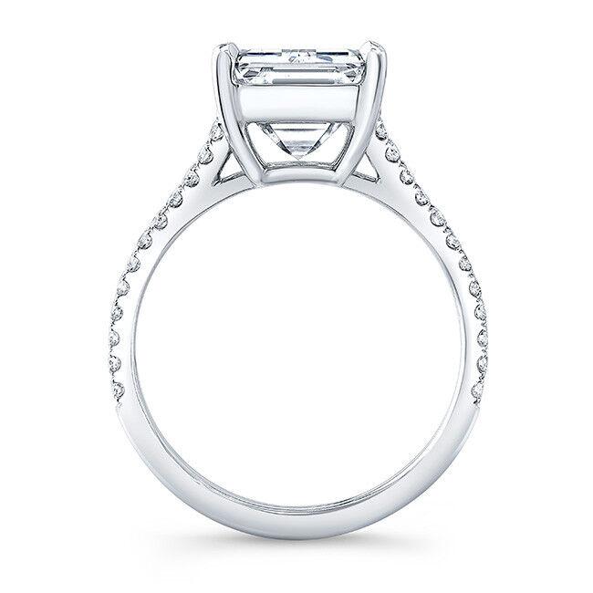 Fine 3.50 Ct Emerald Cut Diamond Split Shank Engagement Ring J,VS1 GIA 14K WG 1