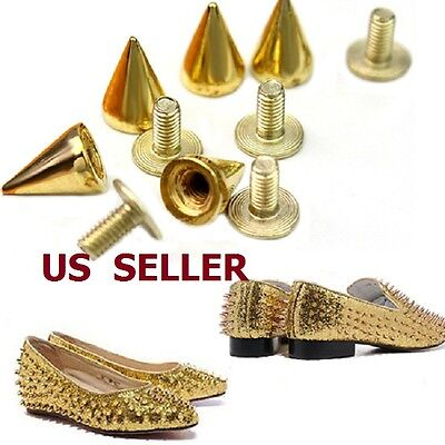 100Pcs Silver Gold Metal Studs Rivet Bullet Spike Cone Screw For Leather -