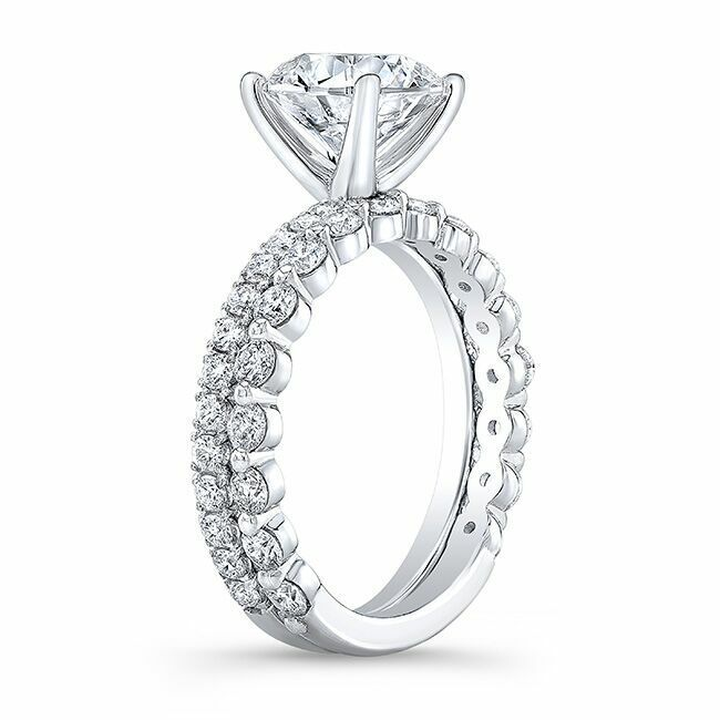 1.90tcw Natural Round Cut Pave Set with Mismatched Single Prong Band - GIA  2