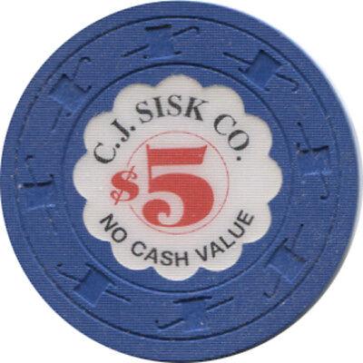 Five Dollar C.J. Sisk Sample Casino Poker Chip