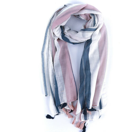 Men Winter Warm Striped Wool Yarn Feel Long Scarves Soft Wrap Shawl Shan