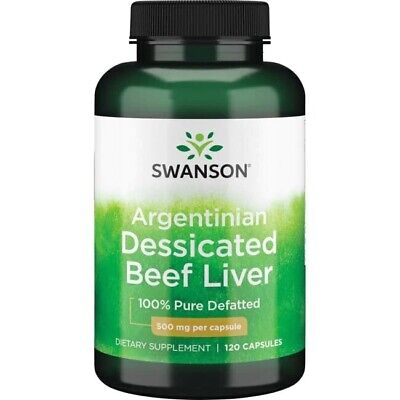 Desiccated Beef Liver 500mg High Protein Increase Energy 120 Capsules Swanson