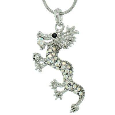 DRAGON W Swarovski Crystal Oriental Mythology Animal AB Pendant Necklace