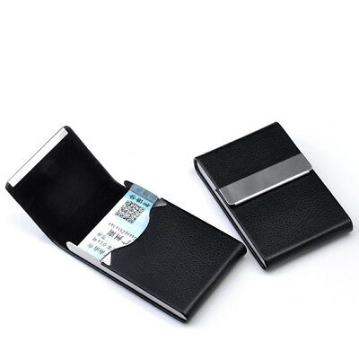 New Hot Pocket Black Pu Leather Name Business Card Case Holder Waterproof
