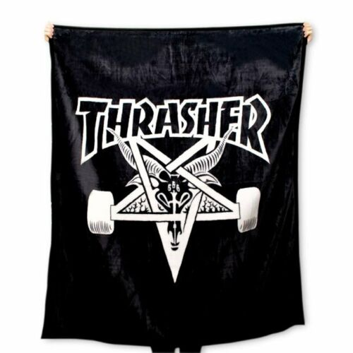 Thrasher Skateboard Magazine Black Skategoat Polyester Blanket
