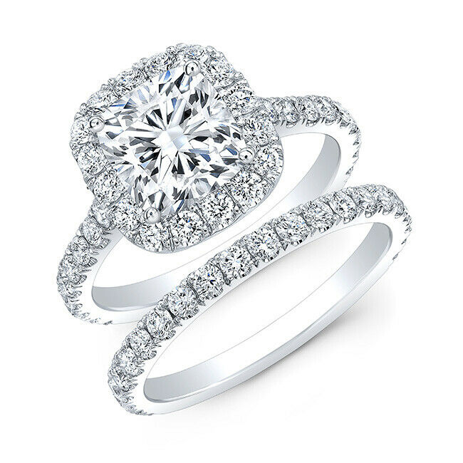 Beautiful 2.08 Ct Cushion Cut Halo Round Diamond Engagement Bridal Set I, IF GIA