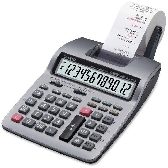 Casio HR-100TM Plus Printing Calculator - Silver