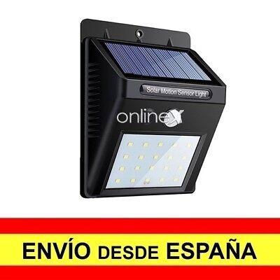 Foco Pared Solar 20 LED Sensor Movimiento Alumbrado Exterior EnvÍo 48/72H. a2947