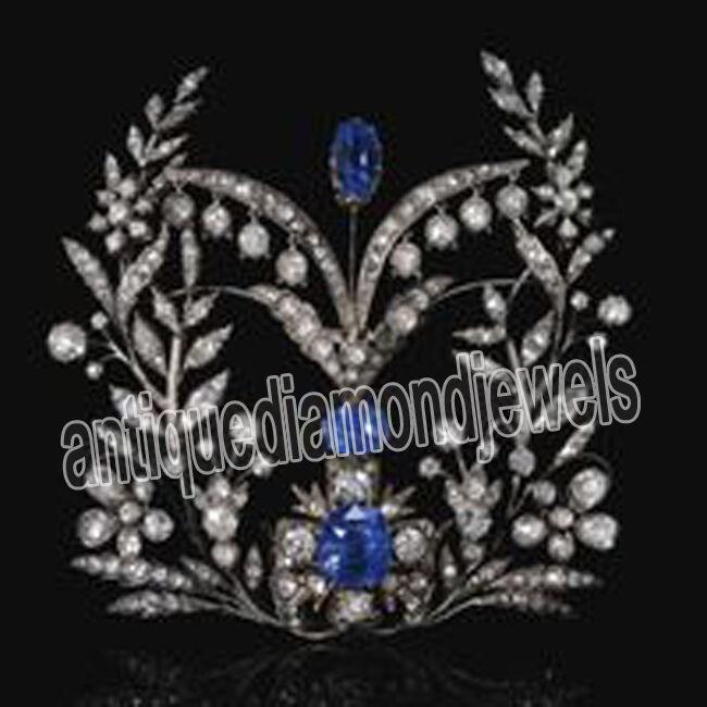4.30ct ROSE CUT DIAMOND SAPPHIRE ANTIQUE VICTORIAN LOOK 925 SILVER BROOCH PIN