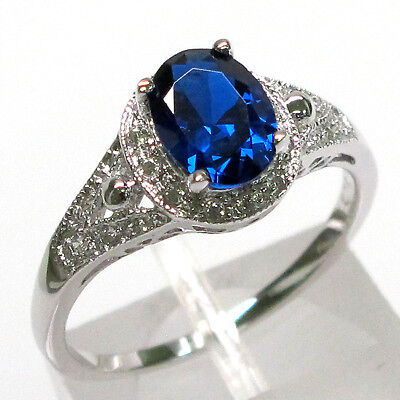 FASHIONABLE 1.5 CT SAPPHIRE OVAL CUT 925 STERLING SILVER RING SIZE 5-10 - Oval Cut Sapphire Ring