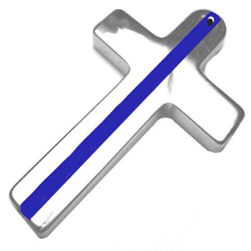 Police Sheriff Thin Blue Line Cross Design Tungsten Key Ring or Pendant