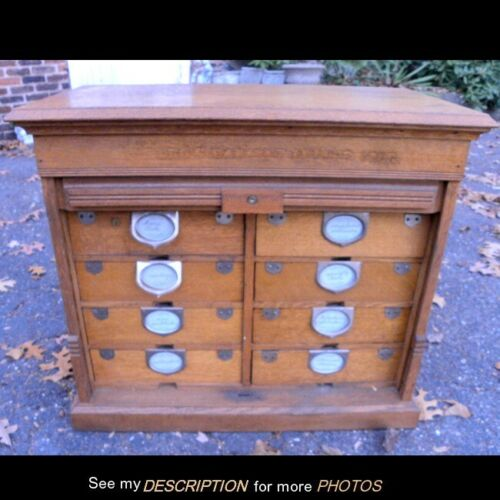 Antique Amberg Oak Roll Front 8 Drawer Letter File Cabinet
