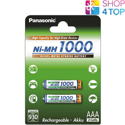 2 PANASONIC Ni-MH 1000mAh RECHARGEABLE AAA R03 BATTERIES HIGH CAPACITY 1.2V NEW for sale  Shipping to United States