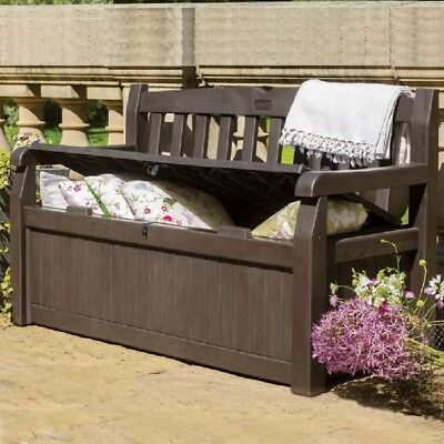Outdoor Storage Bench Patio Garden Box Seating Container Deck Loveseat Pool Yard