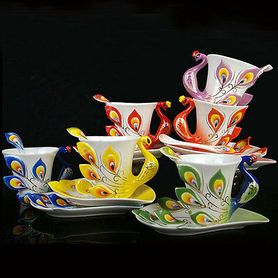 NEW Porcelain Handmade  Peacock Coffee Tea ...