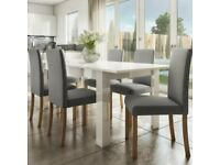 White High Gloss Table and 4 High Back Grey Chairs