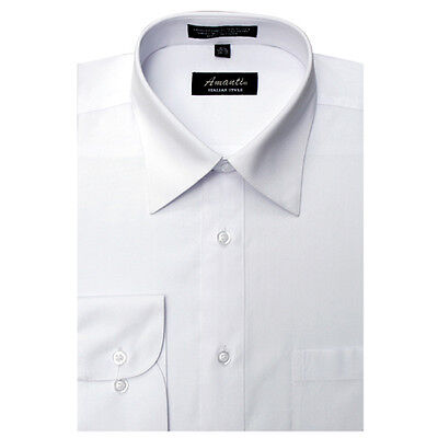 Mens Dress Shirt Plain White Modern Fit Wrinkle-Free Cotton Blend Amanti - Cotton Mens Dress Shirt