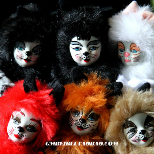 6PCS American Broadway Musical Cats Ceramic Antique Doll Porcelain Gift Set Toy