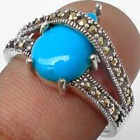 BLUE TURQUOISE with MARCASITE ACCENTS 925 SILVER RING Sz 7